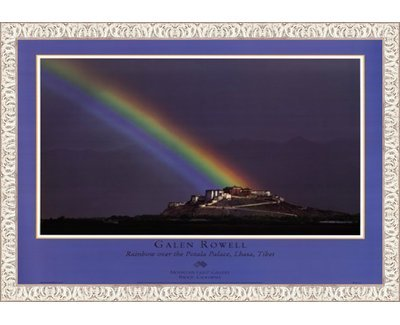 - Framed Rainbow Over The Potala Palace- 32x26 Inches - Art Print (White Wash Frame)