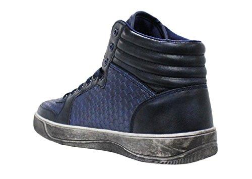 Sneakers Hautes homme chaussures artisanales bleu Casual man's Shoes cuir synthétique Micro Carreaux