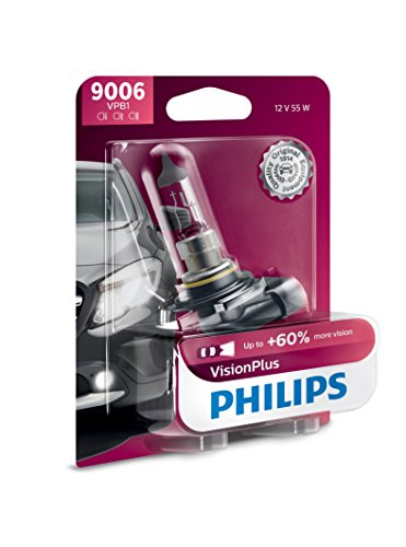 Philips 9006 VisionPlus Upgrade Headlight Bulb with up to 60% More Vision, 1 Pack