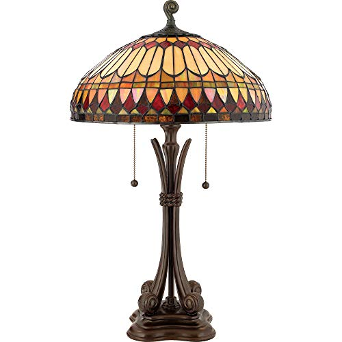Quoizel TF6660BB Tiffany Table Lamp Lighting, 2-Light, 150 Watts, Brushed Bullion (27'H x 16'W)