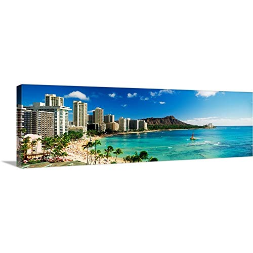 Canvas on Demand Premium Thick-Wrap Canvas Wall Art Print entitled Hotels on the beach, Waikiki Beach, Oahu, Honolulu, Hawaii 60''x20'' by Canvas on Demand