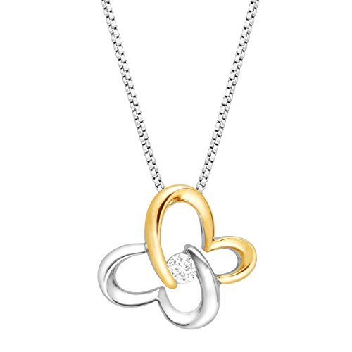 - 1/10 ct Diamond Solitaire Butterfly Pendant Necklace in Sterling Silver & 14K Gold