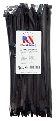 Heavy Duty Cable Ties. Large pliable Nylon Industrial Grade 120 LB Tensile Strength. Premium Zip Ties by USA Strong Products. Available in 100 Pack or Bulk Wholesale (12 Inch 100 Pack, UV Black)
