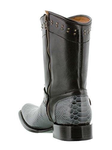 Texas Legacy Men S Gray Python Snake Zipper Cowboy Boots
