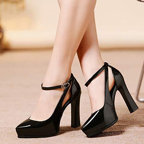 Yukun Zapatos de Diamantes de imitación de Mujer de tacón Alto, 38, Rojo Black