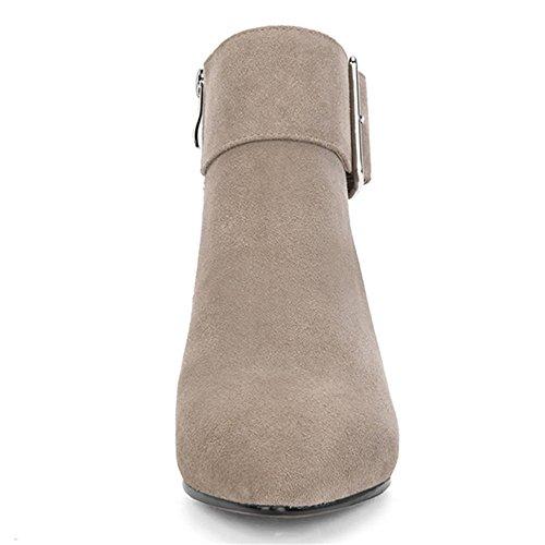 Leather Seven Ankle Boot Block Casual Handmade Women's Work Toe Suede Khaki Heel Comfort Pointed Nine wEad7qw
