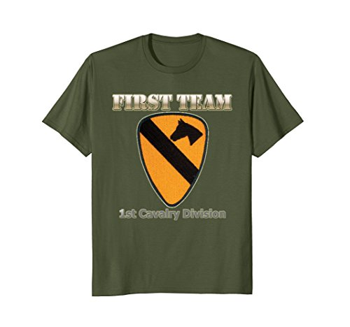Mens First Team - for Army Veterans of 1st Cav Div T-shirt XL Olive (1st Cav T-shirts)