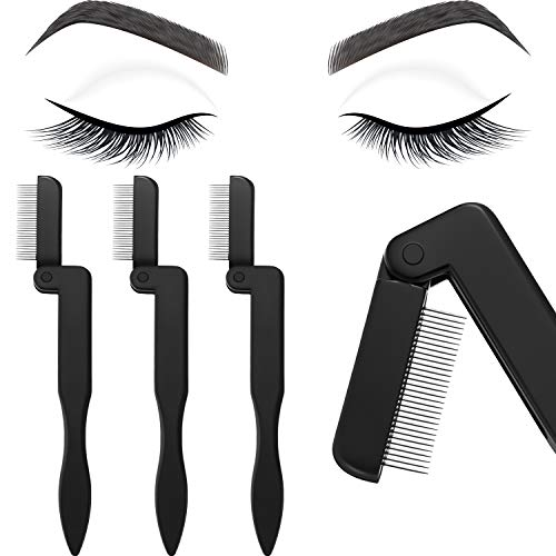 (4 Pieces Eyelash Comb Foldable Eyelash Comb Curlers Stainless Steel Teeth Eyebrow Comb, Black)