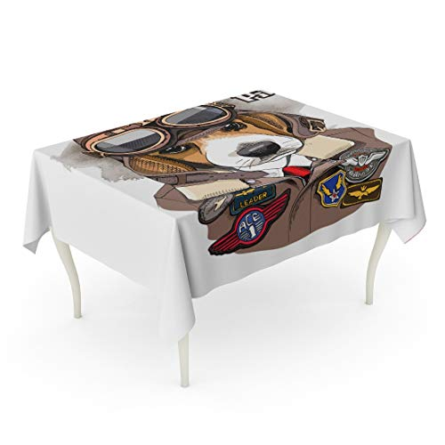 - Tarolo Rectangle Tablecloth 60 x 84 Inch Brown Dog Portrait of The Beagle in Aviator Helmet and Jacket Sewing Patch Goggles Air Aircraft Table Cloth