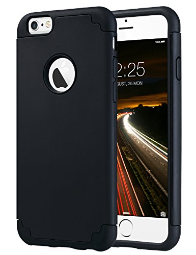 iPhone 6 Case Black, iPhone 6S Case, ULAK Slim Dual Layer Soft Silicone & Hard Back Cover Bumper Protective Shock-Absorption & Skid-proof Anti-Scratch Hybrid Case for Apple iPhone 6/6S 4.7 inch-Black (Tpu Plastic Skin)