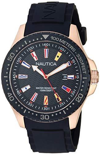 Nautica Men's Jones Beach Stainless Steel Japanese-Quartz Silicone Strap, Black, 22 Casual Watch (Model: NAPJBC006