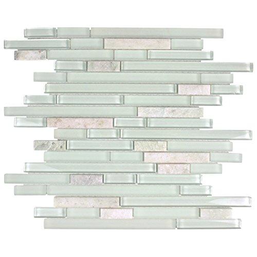 - SomerTile GITTPNMG Sierra Piano Ming Glass and Stone Mosaic Wall Tile, 11.625
