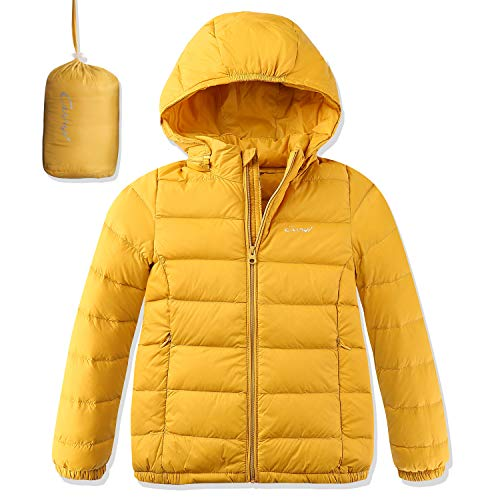 CUNYI Boys Girls Packable Hooded Lightweight Down Jacket with Detachable Hood Outerwear