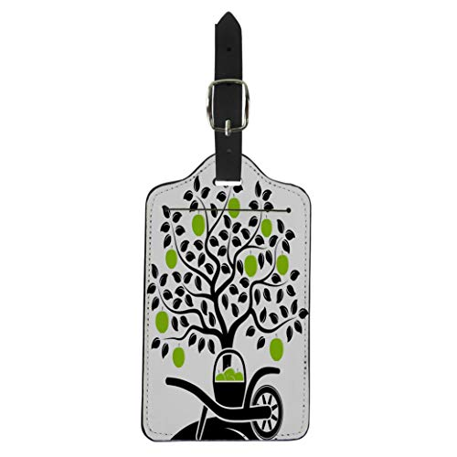 Semtomn Luggage Tag Green Apple Tree and Hand Barrow Basket of Apples Suitcase Baggage Label Travel Tag Labels