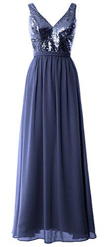 Gown Prom Simple Neck V Dunkelmarine Sequin Straps Women 2017 MACloth Maxi Bridesmaid Dress vARPFqT