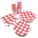 Serves 30   Complete Party Pack   Red Gingham   9