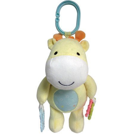 Child of Mine Soft Yellow Horse Plush Stroller Toy with Teething Ring and Rattle