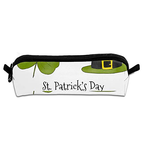 Cartoon St. Patrick's Day Pen Pencil Stationery Bag Makeup Case Travel Cosmetic Brush Accessories Toiletries Pouch Bags Zipper Resistance Carry Handle Power Lines Hanging Handbag Documents