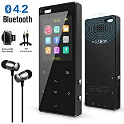 MP3 Player, MP3 Player with Bluetooth, Hi-Fi Lossless Sound Music Player with FM Radio, Voice Recorder, Pedometer, Expandable up to 128GB TF Card, with Armband and Earphone, Black