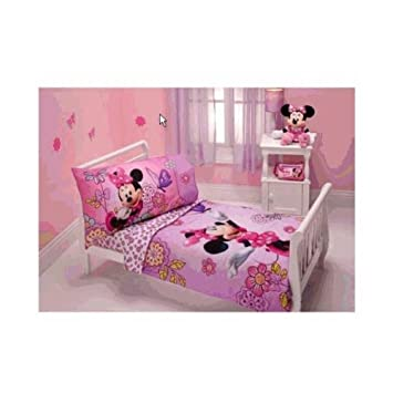 Amazon.com : Minnie Mouse - Flower Garden 4-piece Toddler Bedding ...