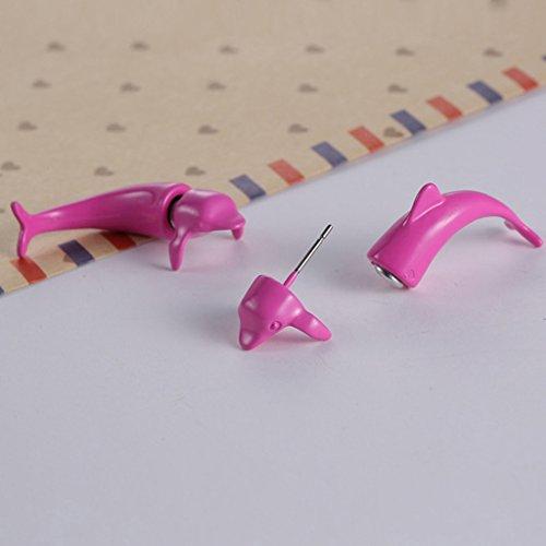 Jiayiqi Femmes Belle Caricature Animaux Dauphins Pêche Plastique Boucles D'oreilles