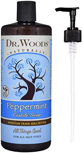 Dr. Woods Pure Castile Peppermint Soap with Organic Shea Butter, 32 Ounce (32 oz with Pump)
