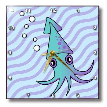 dpp_13789_2 Janna Salak Designs Under the Sea - Cute Blue and Purple Squid - Wall Clocks - 13x13 Wall Clock
