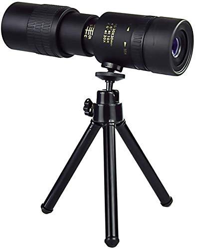 4K 10-60X40mm Super Telephoto Zoom Hiking Monocular Telescope, Waterproof Monocular with Smartphone Holder & Tripod for Hunting Hiking (Black)