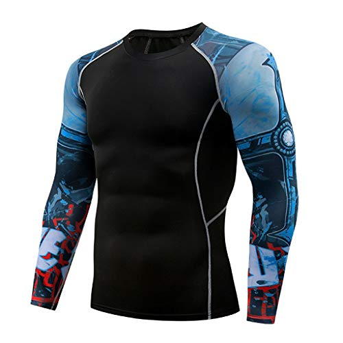 POQOQ Casual T-Shirt Fashion Men's Print Long Sleeve Yoga Fitness Sport Top Blouse(Black,M)]()