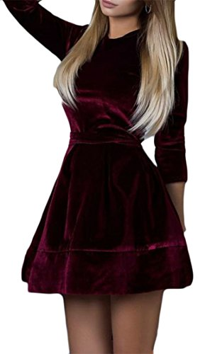 Cromoncent Femmes Casual Swing Manches Longues Velours Ceinture Crewneck Robes Plissées Vin Rouge