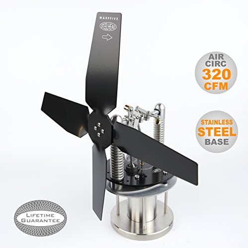 Heat Powered Stove Top Fan for wood multi-fuel coal - WARPFIVE STEELHEAD Eco Stirling engine