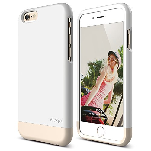 iPhone 6 Case, elago [Glide Limited-Edition][White/Champagne Gold] - [Mix and Match][Premium Armor][True Fit] – for iPhone 6 Only