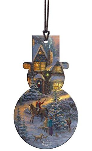Trend Setters Thomas Kinkade Spirit of Christmas Snowman Shaped Hanging Acrylic Decoration - Kinkade Christmas Decoration