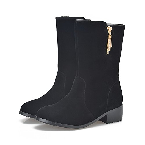 Toe Round Zipper Allhqfashion Women's Boots Mid PU Closed Black top Frosted wTEwIxq