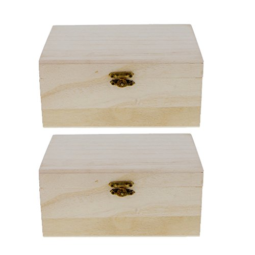 MagiDeal 2 Pieces Unfinished Wood Classic Box Storage With Hinged Lid For Arts Crafts