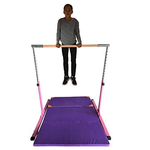 - JUNGLE KIDS Pink Senior Junior Height Adjustable Horizontal Gymnastics High Bar with Mat for Home Gym Pull up Kip High Bar