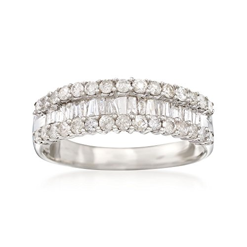 Diamond Brilliant Round Band Baguette (Ross-Simons 1.05 ct. t.w. Diamond Band Ring in Sterling Silver)