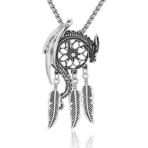 Dangling Pendant Charm (Everydaying Viking Dreamcatcher Necklace, Viking Snake Ouroboros Amulet Necklace, Nordic Talisman Gift for Men Unisex, Dangling Feather Charms Tribal Dream Catcher Pendant Necklace)