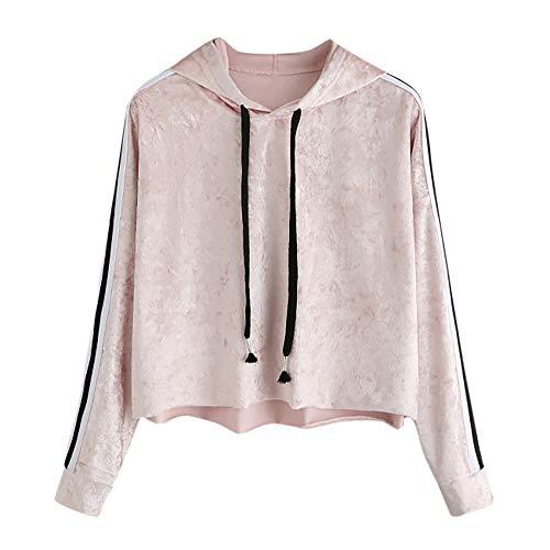 Womens Hoodies Sweatshirt,Thenlian Hooded Sweatshirt Solid Hoodie Long Sleeve Pullover O-Neck Drawstring Jumper Tops Blouse Crop Sweater Casual