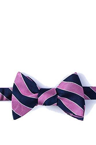 Men's 100% Silk Fane American Repp Striped Stripe Butterfly Self Bow Tie (Navy Blue & Pink) ()
