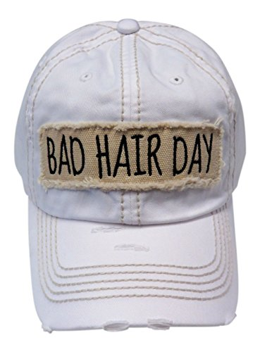 Embroidered Bad Hair Day Frayed Patch Washed Vintage Baseball Cap Hat (White ) 2a640398f20b