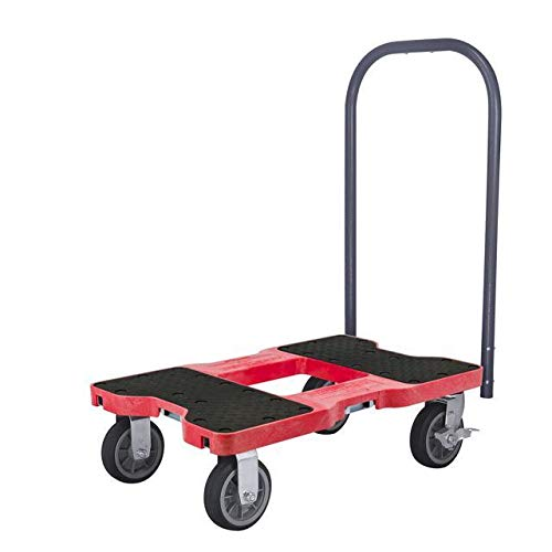 SNAP-LOC ALL-TERRAIN PUSH CART DOLLY RED with 1500 lb Capacity, Steel Frame, 6 inch Casters, Push Bar and optional E-Strap Attachment