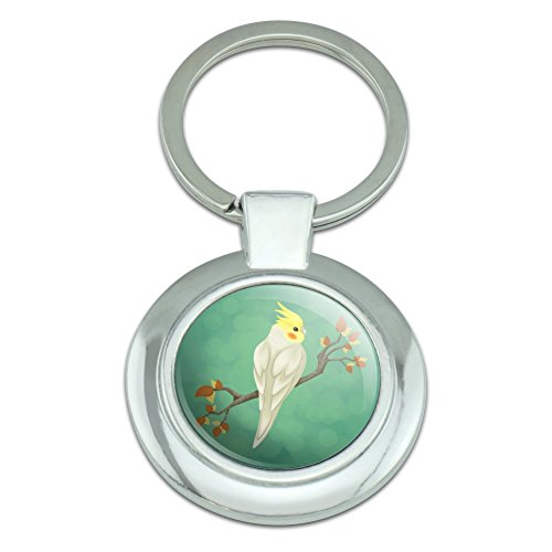 Charming Cockatiel Yellow Crest Classy Round Chrome Plated Metal Keychain