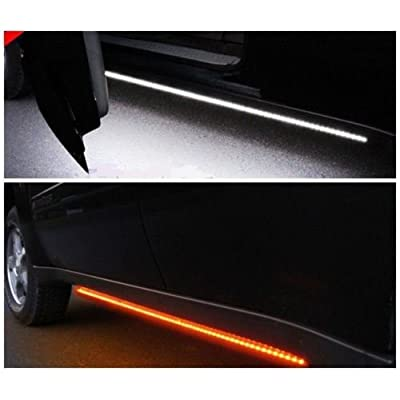 "[2pc 48-Inch] Truck Light Running Board LED Kit - [AMBER/WHITE] - Turn Signal Side Marker & Courtesy Light Bar Strip for Pickup Trucks, SUV, Cars, and Work Van [48""]: Automotive"