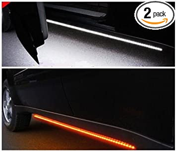 Work Van SWATOW INDUSTRIES 2PCS 48 Inch Truck LED Running Board Lights with Amber Turn Signal Side Marker Running Lights White Courtesy Light Bar Strip for Pickup Trucks SUV Cars