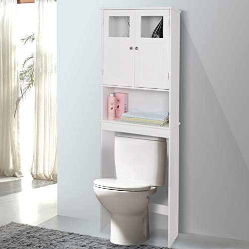 (Bonnlo Bathroom Over Toilet Space Saver, Wall-Mounted Standing Double Door Storage Cabinet Tower with Adjustable Shelf White 23 1/4