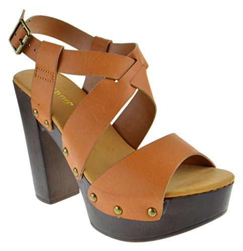 Bamboo Juliana 22 Womens Open Toe Chunky Heel Faux Wood Platform Sandals Tan Burnish 7