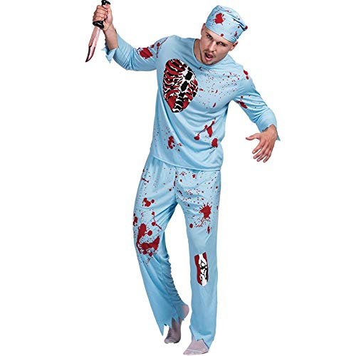 Men Doctor Zombie Bloody Surgeon Costume Halloween Carnival Outfits (M) -