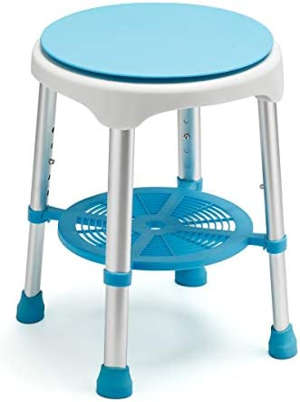 Health Line Massage Products Swivel Shower Stool, Tool-Free Assembly Shower Chair Adjustable Shower Bench with Storage Shelf, Bathtub Seat for Seniors Elderly Handicap in Bathtub for Safety
