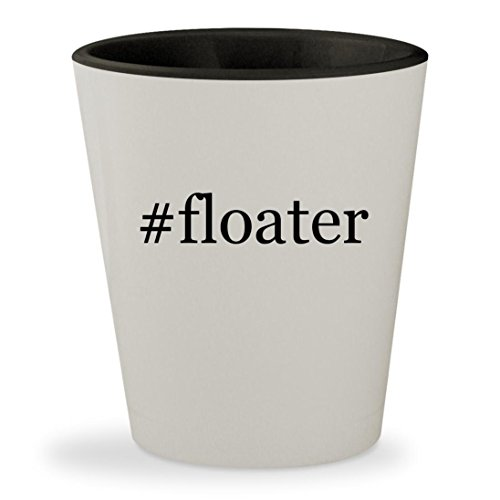 #floater - Hashtag White Outer & Black Inner Ceramic 1.5oz Shot Glass (Pellets Floater)